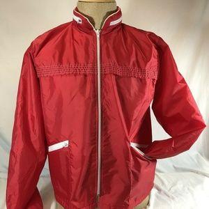 Nylon Aqua Sheen Wind Breaker Retro Rain Jacket